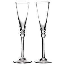Pair Of Simon Pearce Hartland Champagne Flutes