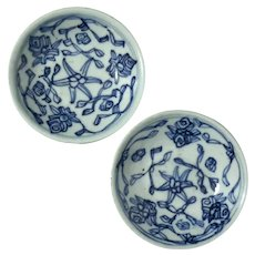 Pair Of Chinese Blue & White Porcelain Sauce Bowls
