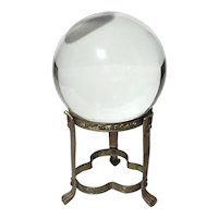 Vintage Crystal Ball On Brass Stand