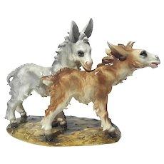 Italian Guido Cacciapuoti Porcelain Donkeys