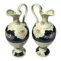 Pair Of Early Vintage Noritake Ewers
