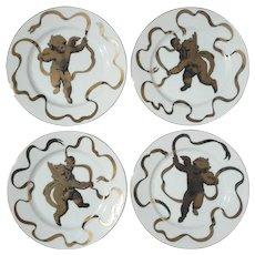 Set Of Four Cherub Plates For Neiman Marcus