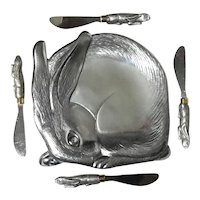 Arthur Court Rabbit Cheese Tray With Four Knives