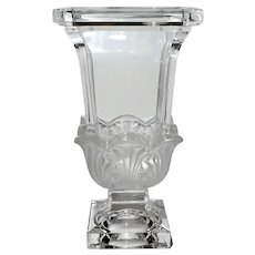 Large German Partially Frosted Lead Crystal Vase