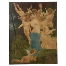 19th Century French Painting On Board Of A Woman And Cherubs