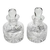 Pair Of Cut Crystal Perfume Bottles