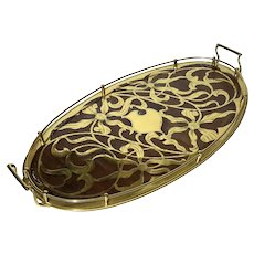 Erhard & Söhne Art Nouveau Brass And Wood Inlaid Tray