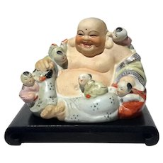 Chinese Porcelain Happy Buddha On Wooden Stand