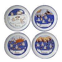 Set Of Italian Gubbio Four Seasons Faience Pottery Plates