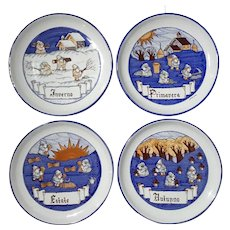 Set Of Italian Gubbio Four Seasons Faience Pottery Plates