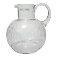 TIFFANY & CO Lily Of The Valley Etched Crystal Pitcher