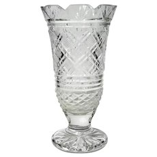 Early Vintage Signed Irish Waterford Crystal Vase