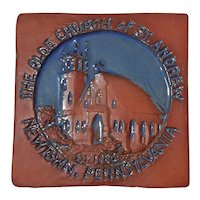 Pottery Tile Of Church Of St. Andrew Newtown Pennsylvania
