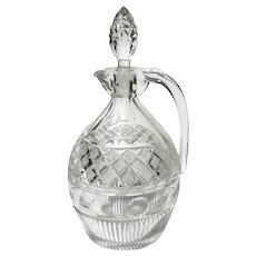 Antique Bohemian Cut Crystal Wine Decanter
