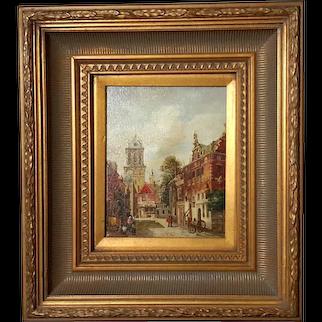 Dutch Street Scene Painting In Gilt Wood Frame