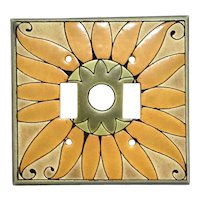 All Fired Up Pottery Sunflower Double Switch Plate Cover