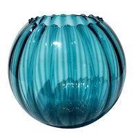 Hand-Blown Mexican Turquoise Glass Rose Bowl