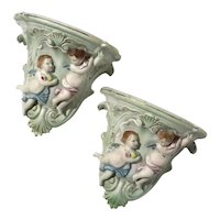 Pair Of Occupied Japan Bisque Porcelain Cherub Wall Sconces