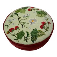 Vintage Strawberry Needlepoint Pillow