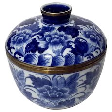 Chinese Blue & White Porcelain Lidded Bowl With Brass Trim