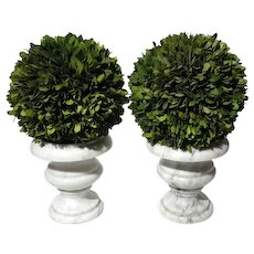 Pair Of Italian White Marble Urns