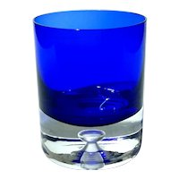 Set Of Four Cobalt Stockholm By BLOCK Double Old Fashioned Glasses