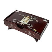 Chinese Mother Of Pearl Inlaid Lacquered Rosewood Box
