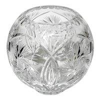 Vintage Czechoslovakian Cut Crystal Rose Bowl