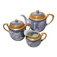 Hand-Painted Japanese Lusterware Porcelain Tea Set