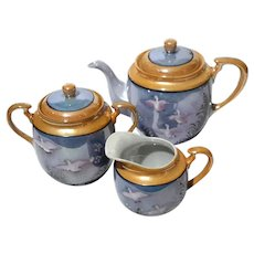 Hand-Painted Japanese Lusterware Porcelain Tea Set
