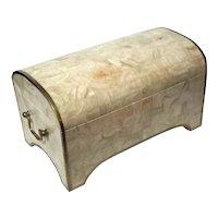 Maitland Smith Tessellated Stone With Brass Trim Box Trunk