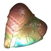 Iridescent Art Glass Heart Paperweight