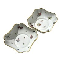 Pair Of French Limoges Porcelain Butterfly Bowls