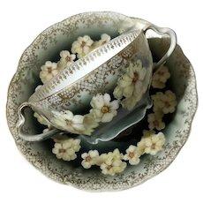 Antique R C Bavaria Iris Cup And Saucer