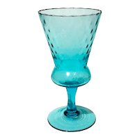 Mid-Century Hand-Blown Mexican Turquoise Glass Pedestal Vase