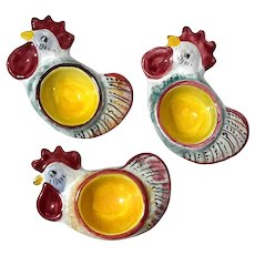 Italian Deruta Pottery Rooster Egg Cups