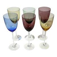 Vintage Set Of Six Italian Multi-Colored Wine Glasses