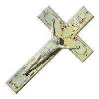 Vintage Tole Floral Painted Crucifix