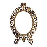 Large Antique Gilt Metal Picture Frame