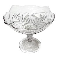 Early American Pattern Glass Pedestal Bowl