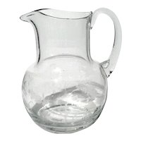 Handcrafted Floral Etched Glass Pitcher