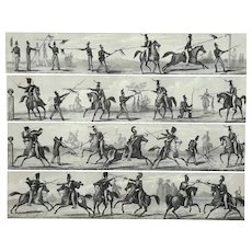 Equestrian Soldiers Engraving By Henry Winkles, 1801 - 1860
