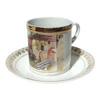 Union K Czechoslovakian Porcelain Cup And Saucer, Circa 1920