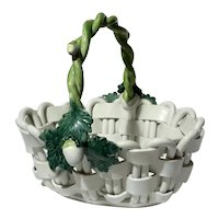 Hand-Made Italian Majolica Pottery Basket By Cherubini