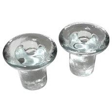 Blenko Glass Mushroom Candle Holders