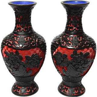 Pair Of Chinese Black And Red Cinnabar Vases