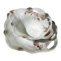 German Porcelain Leaf Bowl With Attached Liner Tray