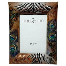Anuschka Hand-Painted Peacock Safari Leather Picture Frame
