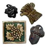 Four Small Moravian Pottery Tiles