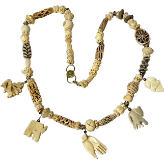 Chinese Carved Bone Necklace